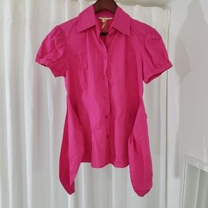 EUC Andrew & Co Pink Collared Button Down Shirt